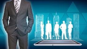 Businessman with wire-frame buildings, tablet and royalty free stock photos