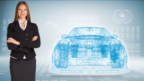 Businessman with wire frame car Royalty Free Stock Photos