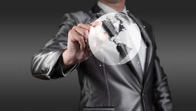 Businessman wirking with globalization concept, show Aamerica Co Stock Photos