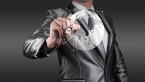 Businessman wirking with globalization concept, show Asia Stock Images
