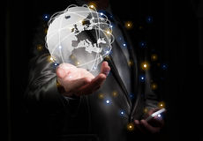 Businessman wirking with globalization concept, show Europe Cont Stock Photos