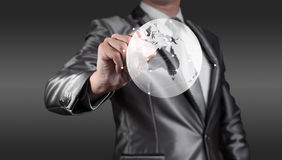 Businessman wirking with globalization concept, show Oceania Stock Photo