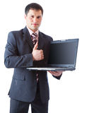 Businessman wit laptop Royalty Free Stock Photos