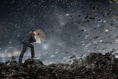 Free Businessman With Black Umbrella. Mixed Media Stock Photo - 99595610