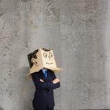 Businessman With Box On Head Stock Photos