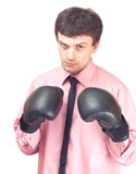 Businessman With Boxing Gloves. Stock Images