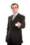 Businessman With Businesscard. Isolated On White. Royalty Free Stock Photography