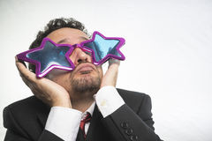 Free Businessman With Glasses Stars, Crazy And Funny Achiever Stock Photos - 70381943