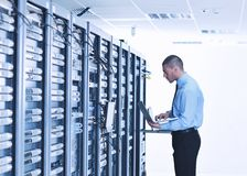 Free Businessman With Laptop In Network Server Room Stock Photos - 21721083