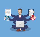 Businessman With Multitasking Lots Of Arms Royalty Free Stock Images