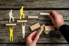 Free Businessman With Silhouette People Helping Others Climbing Wooden Stairs Stock Images - 115389754