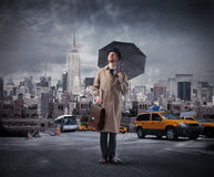 Free Businessman With Umbrella Royalty Free Stock Photography - 13258847
