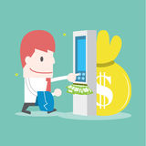 Businessman withdrawing money from credit card at ATM. Vector cartoon business Stock Photos
