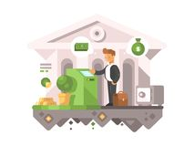 Businessman withdraws money from an ATM. Businessman withdraws money from ATM. Financial transactions in banks. Vector illustration royalty free illustration