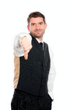 Businessman withthumb down. Businessman in front of white background with thumb down Stock Image