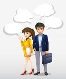 Businessman and woman with bubble speech Royalty Free Stock Images