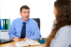 Businessman and a woman in counseling. Business men and a women in counseling stock photos