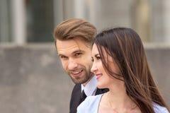 Businessman and woman flirting Stock Photography