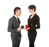 Businessman and woman having a break with a cup of coffee Royalty Free Stock Photos