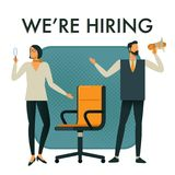 Businessman and woman are hiring new staff. stock illustration
