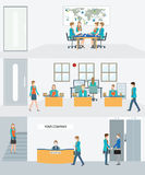Businessman and woman in interior building. Royalty Free Stock Image