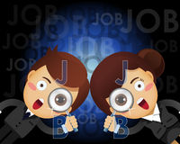 Businessman and woman with magnifying glass searching for job Royalty Free Stock Photography