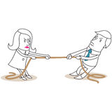 Businessman and woman rope pulling vector illustration