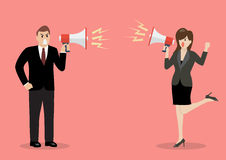 Businessman and woman are shouting on each other with megaphones. Business concept Royalty Free Stock Photos