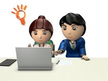 A businessman and a woman are solving the problem in front of a personal computer. It represents partnership. 3D illustration. White background stock illustration