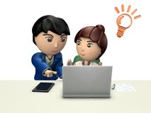 A businessman and a woman are solving the problem in front of a personal computer. It represents partnership. 3D illustration. White background vector illustration