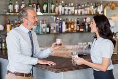 Businessman and woman standing at bar counter having drink Stock Photos