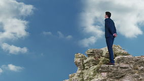 Businessman and woman standing on rocks looking out stock video