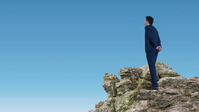 Businessman and woman standing on rocks looking out. With large copy space stock footage