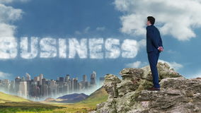 Businessman and woman standing on rocks looking at text stock video