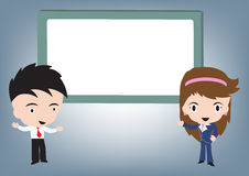 Businessman and woman standing and speaking and whiteboard behind, vector illustration in flat design Royalty Free Stock Image