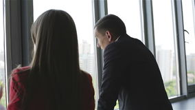 Businessman and woman standing and talking near the window. stock video