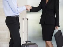 A businessman and woman with suitcases Stock Image