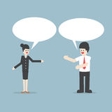 Businessman and woman talking with Speech Bubbles Royalty Free Stock Image