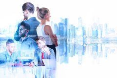Teamwork and job concept. Businessman and women on abstract reflected city background. Teamwork and job concept. Double exposure Royalty Free Stock Photography