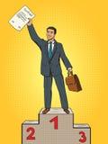 Businessman won contact first place pop art vector. Businessman won contact first place pop art style vector illustration. Businessman on pedestal. Business Stock Photo