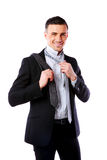 Businessman wonders which necktie to choose Royalty Free Stock Image