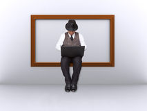Businessman wooden frame. Royalty Free Stock Images
