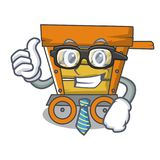 Businessman wooden trolley character cartoon. Vector illustration stock illustration