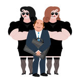 Businessman with wooman bodyguards. VIP protection. Black suit a Stock Image