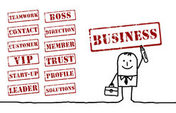 Businessman and words. Hand drawn character and grunge words Stock Photos
