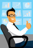 Businessman at work. Successful businessman with thumb up at work Royalty Free Stock Photos