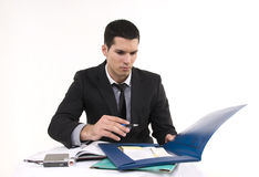 Businessman at work. With phone and documents Stock Photography