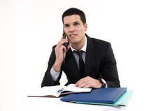 Businessman at work. With phone and documents Royalty Free Stock Photography