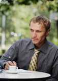 Businessman work in cafe stock photo
