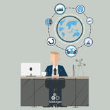 Businessman at work manager. Flat design illustration. Communication and finance Stock Photography
